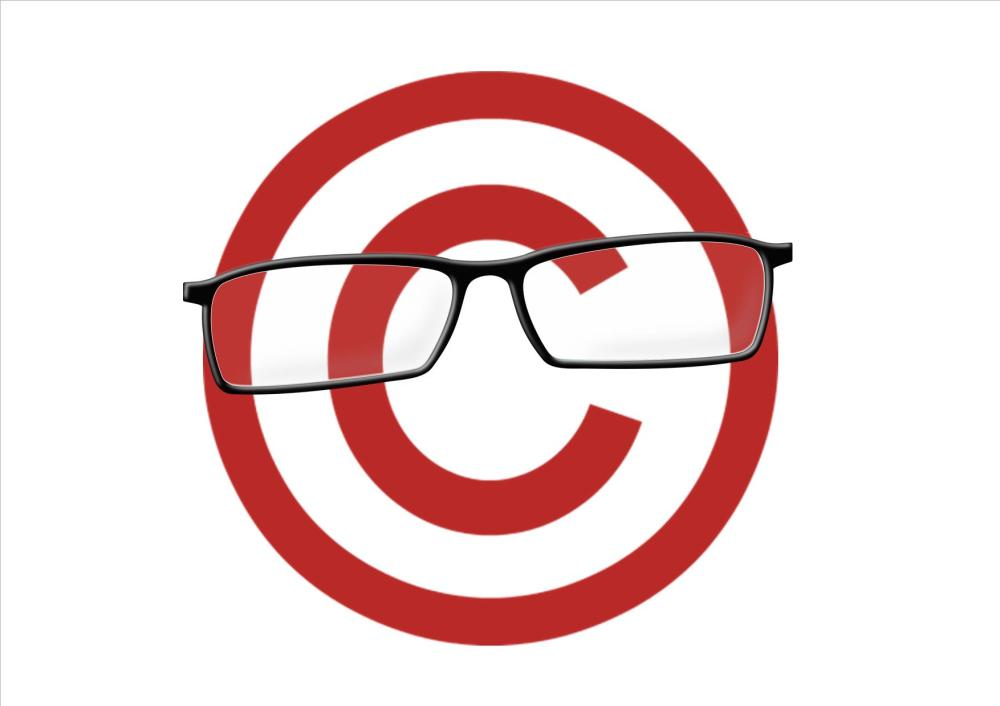 Copyright symbol wearing glasses - landscape large